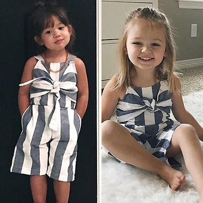 Infant Baby Kids Girls Striped Jumpsuit Romper Clothes Outfits Playsuit in Rompers from Mother Kids