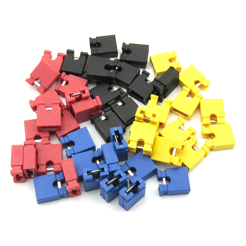 100PCS Pitch 2.54mm Pin Header Shorting Cap Jumper Cap Short Block Black Yellow Red Blue Green White