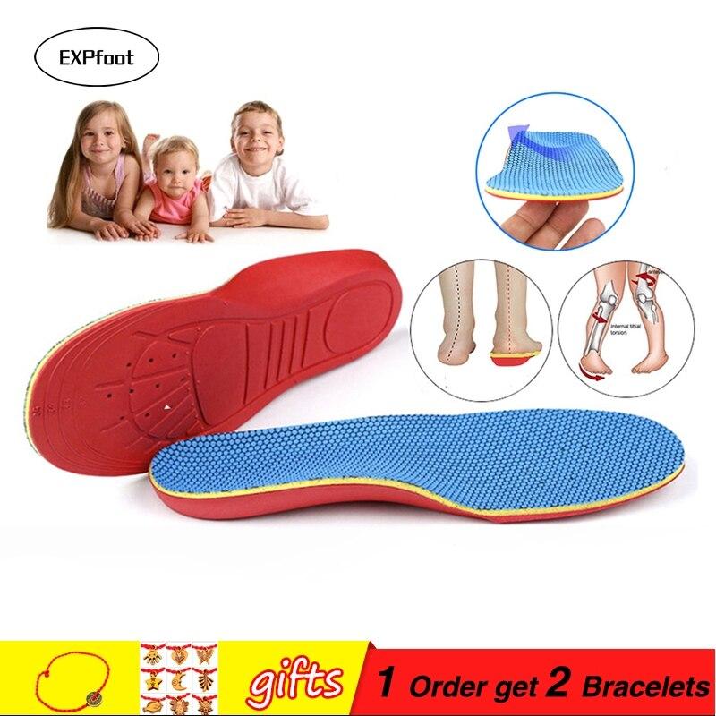 EXPfoot Barnens minnesform ortopediska sulor för barnskor platta fotbågsstöd ortotiska dynor Korrigeringsfötter