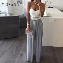 Yissang Pleated Jumpsuit For Women 2019 Summer Strapless Crop Top Backless Rompers Womens