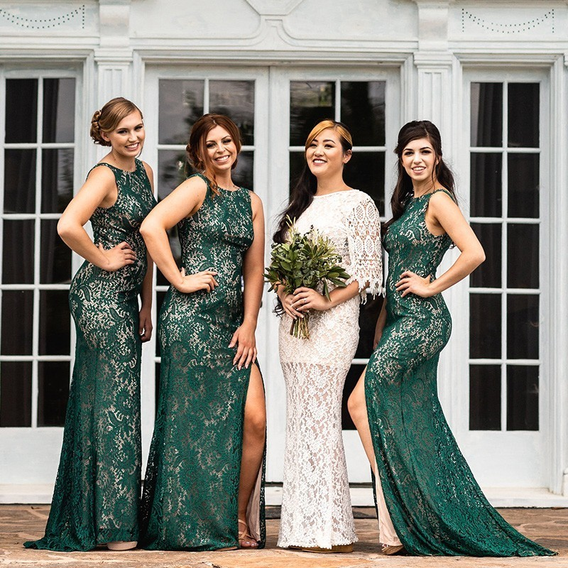 Mermaid Lace Bridesmaid Dresses Wedding Ever Pretty Sexy Green Mermaid Leg Slit Burgundy Dress Long Party Gowns Vestido Madrinha