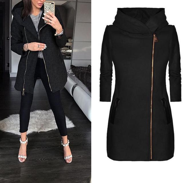 Женская зимняя куртка на молнии, тонкая верхняя одежда, Весенняя мода, лоскутное Черное женское теплое ветрозащитное пальто, зимнее пальто 2018