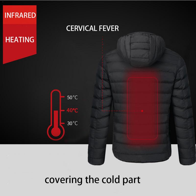 Winter Outdoor Intelligent Heating Men Cotton Hood With Cap Electric Heating Coat Jacket Electric Heating Clothing Male Jacket viishow winter jacket men brand clothing cotton coat male fashion clothing camouflage parkas men military wind jacket mc2270174