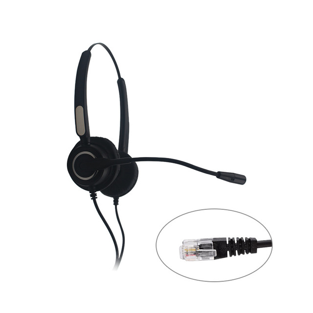 LEORY 3.5mm/ RJ11 Phone Call Headphone Noise Reduction Call Center Business Headphone Wired Customer Service Headset with Mic