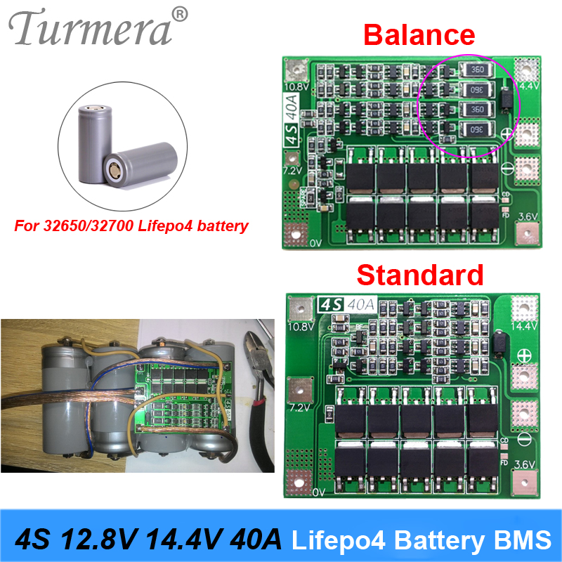4S 40A 12.8V 14.4V 32650 32700 LiFePO4 BMS Lithium Iron Battery Protection Board With Equalization Start Drill Standard Balance