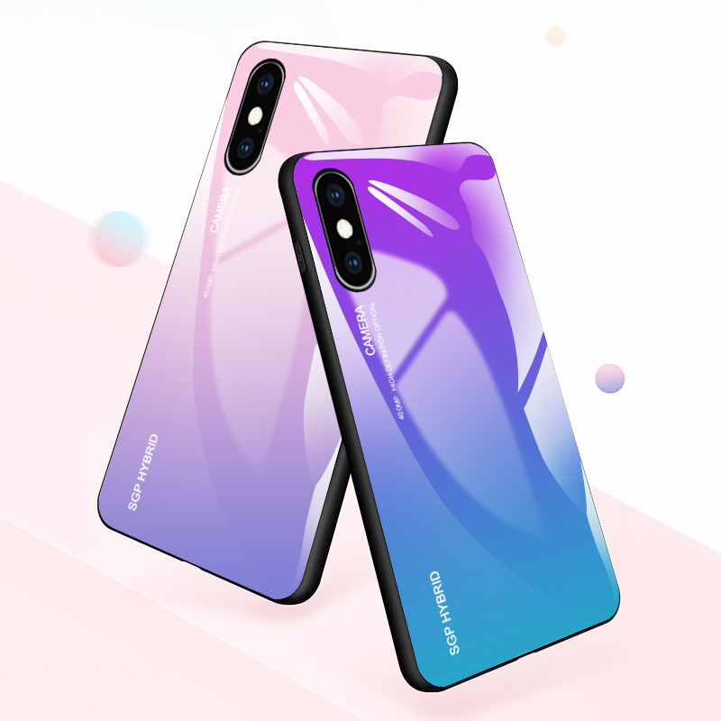 Gradient Case For iPhone 7 Case Tempered Glass Phone Shell For Apple iPhone XS Max X 7 8 Plus 6