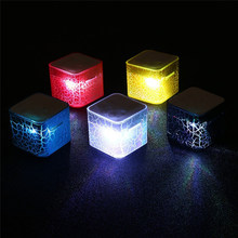 Portable Mini Speaker Colorful Crack LED Light Small Speaker Sound Box Cube Support Micro SD/TF Card(China)