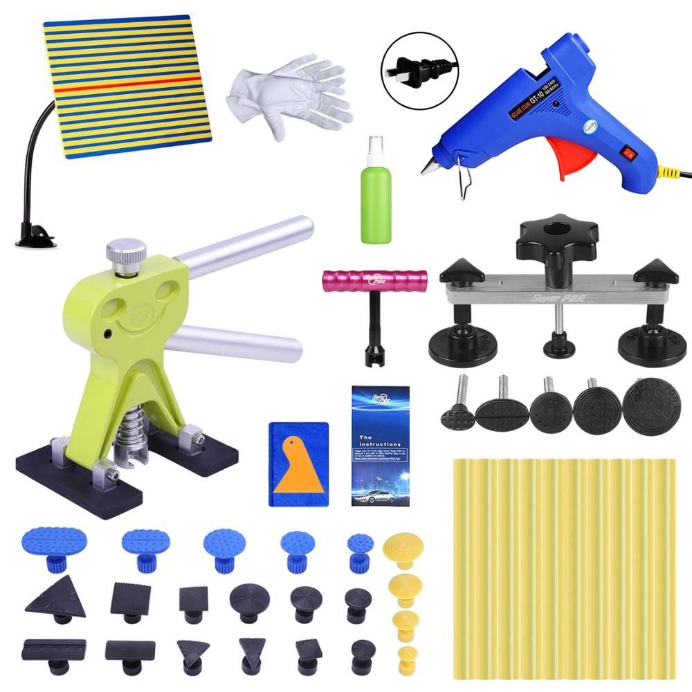 Super PDR Tool Kit For Car Paintless Dent Removal Tools Auto Dent Puller Suction Cup Pulling Bride Hot Glue Gun Line Board Kits super pdr tools dent removal kit for car dent puller suction cup glue sticks for hot melt glue gun line board pump wedge air bag