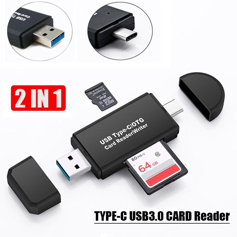 Type-C Card Reader USB 3.0 Micro SD TF Type C Multi Memory Card Reader Plug In And Play Smart 2-In-1 Multifunctional Card Reader