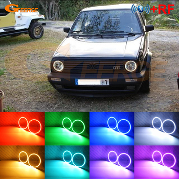 For Volkswagen VW Golf Mk1 Mk2 GTI Euro headlight 1974-1992 Excellent RGB LED Angel Eyes kit Multi-Color Ultra bright Halo Rings 180sx led ヘッド ライト