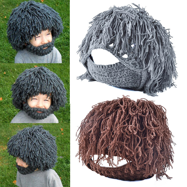 Able 1 Pcs Beard Wig Hat Cap Warm Knitting Solid Color Funny For Winter Women Men Outdoor Best Sale-wt