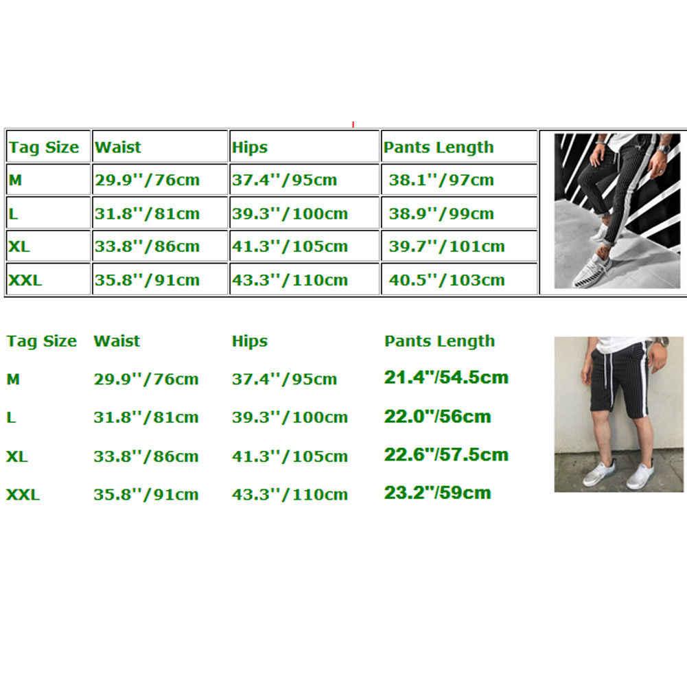 ホットセールワークアウトジョギングパンツ男性ストライプスポーツスウェットショートカジュアル長ズボンの男性フィットネスジョギングボディービルズボン