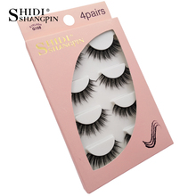 SHIDISHANGPIN 4 pairs makeup thick fake eyelash natual hair 100% cruelty free 3d mink lashes full strip volume