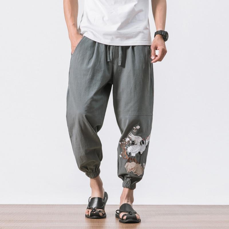 #4519 Vintage Street Hip Hop Lose Retro Baumwolle Leinen Harem Hosen Männer Plus Größe 5xl Stickerei Kran Schweiß Hosen Joggers Elegante Form