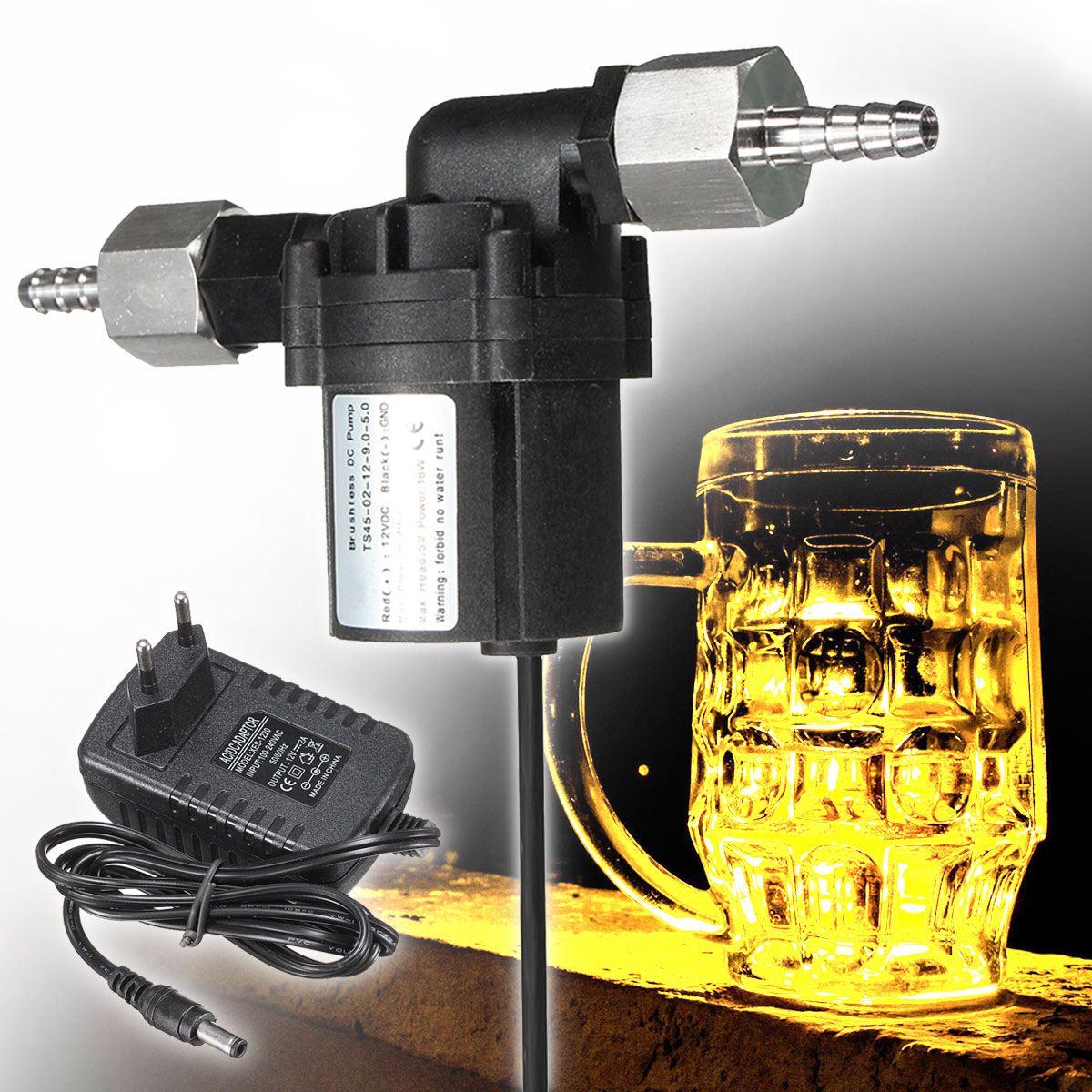 Nouveau DC 12 v De Transfert De Fluide Brassage Homebrew Pompe de Qualité Alimentaire Maison Home Bar Vin Faire Outils avec Power Adapter
