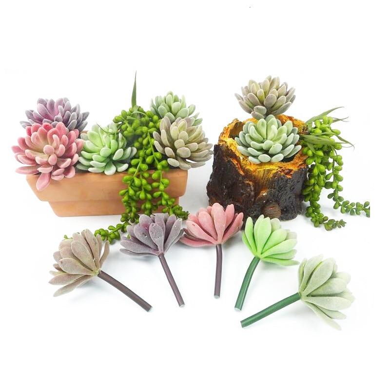 Mini Echeveria Elegance Yapay Etli Bitki Plastik Çiçek Dekorasyon - Tatiller ve Partiler Için - Fotoğraf 4