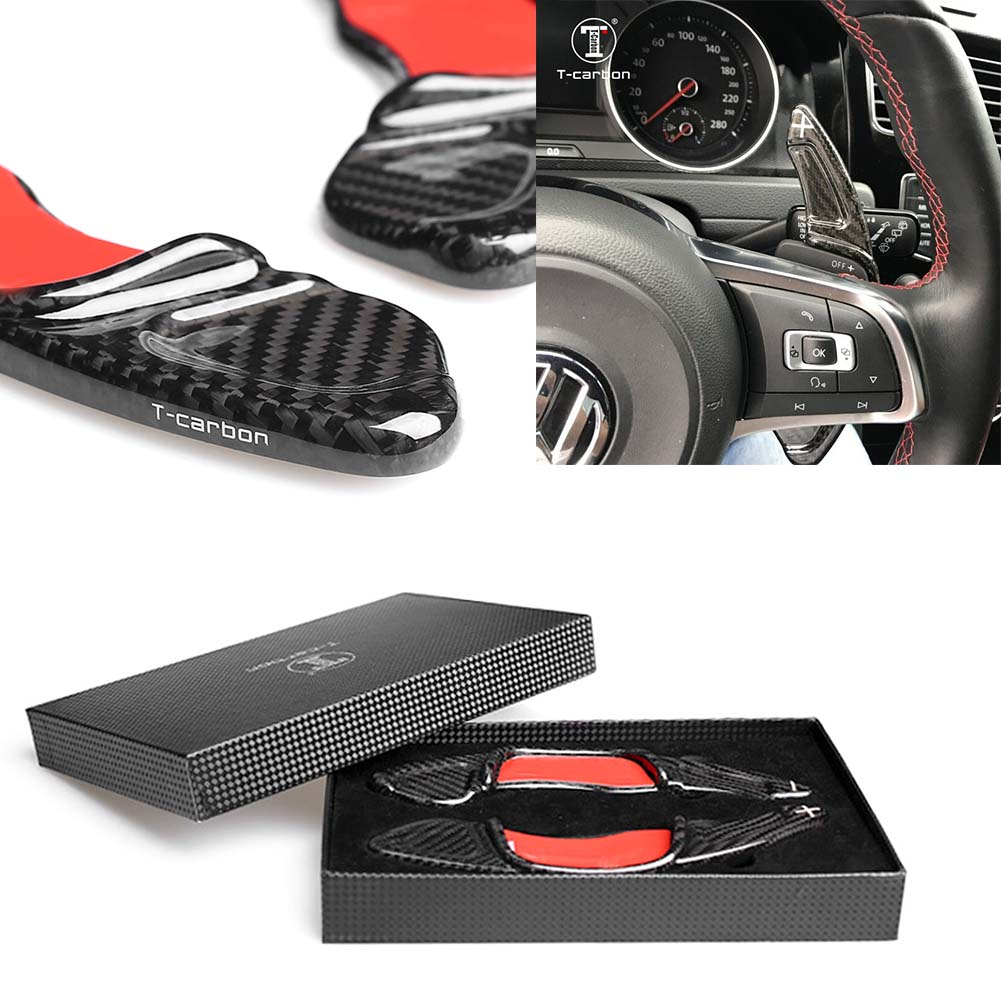 Car <font><b>Steering</b></font> <font><b>Wheel</b></font> Shift Paddle For Volkswagen Scirocco 2015-2017 & Sagitar GLI 2016-2017 & Lamando GTS 2016 Real <font><b>Carbon</b></font> Fiber image