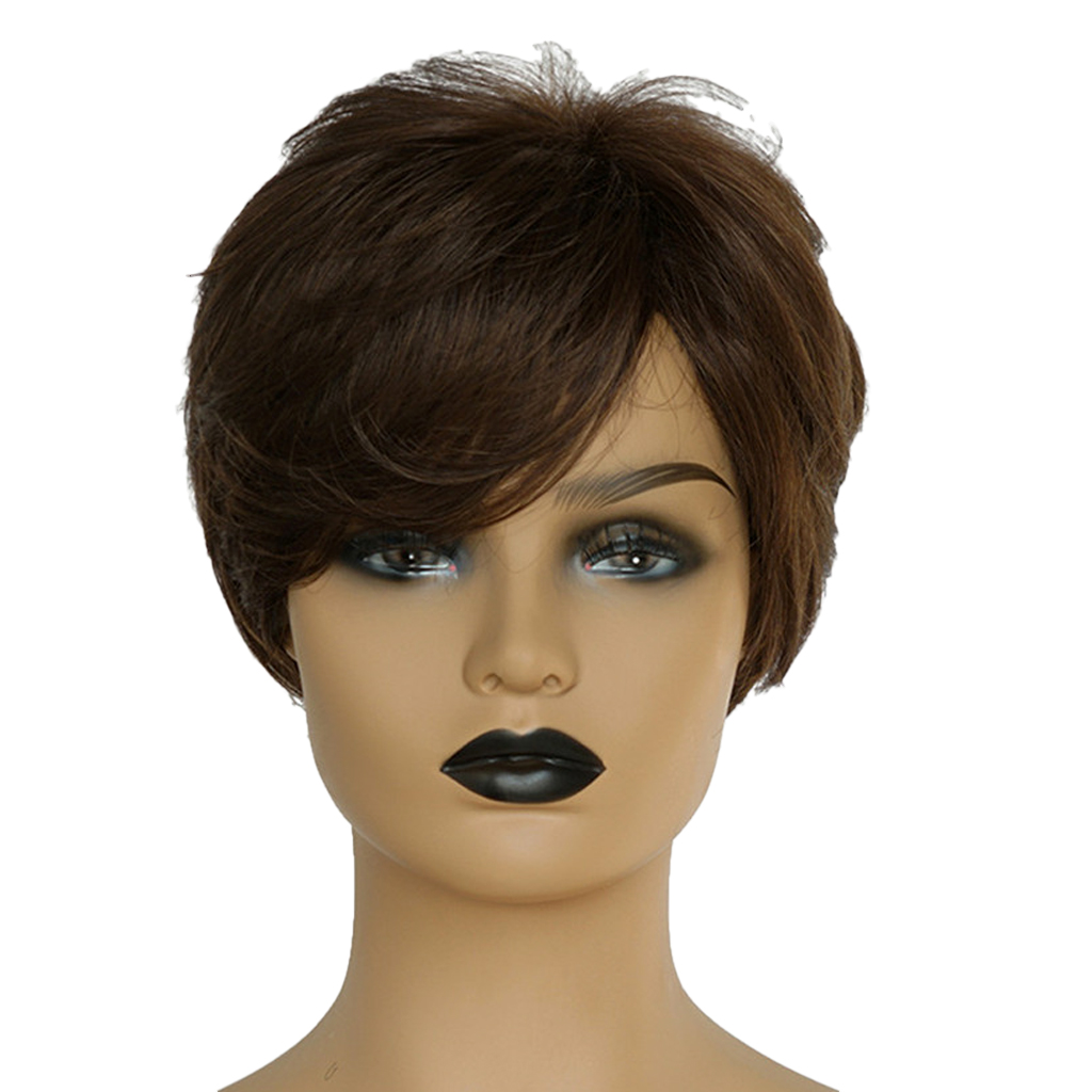 цены 8'' Natural Short Straight Wigs Human Hair Pixie Cut Wig for Women w/ Side Bangs Brown