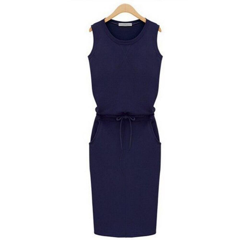 Jocoo Jolee Women Causal Sleeveless Pockets Pencil Dress 2020 Summer Solid Drawstring Waist Beach Party Sundress 3