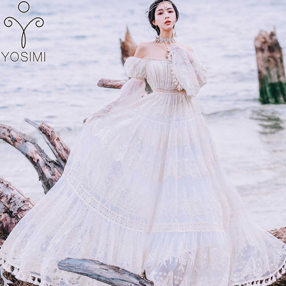 aa741eabf YOSIMI 2018 Summer Lace Long Women Dress Evening Party Maxi Vintage Lady  White Off The Shoulder