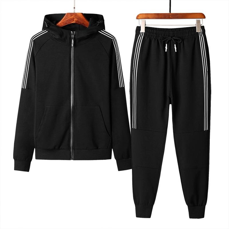 2018 New Autumn Men's Casual Solid Color Zipper Set wild Sports Suit Men Clothing Chandal Hombre Survetement Homme M