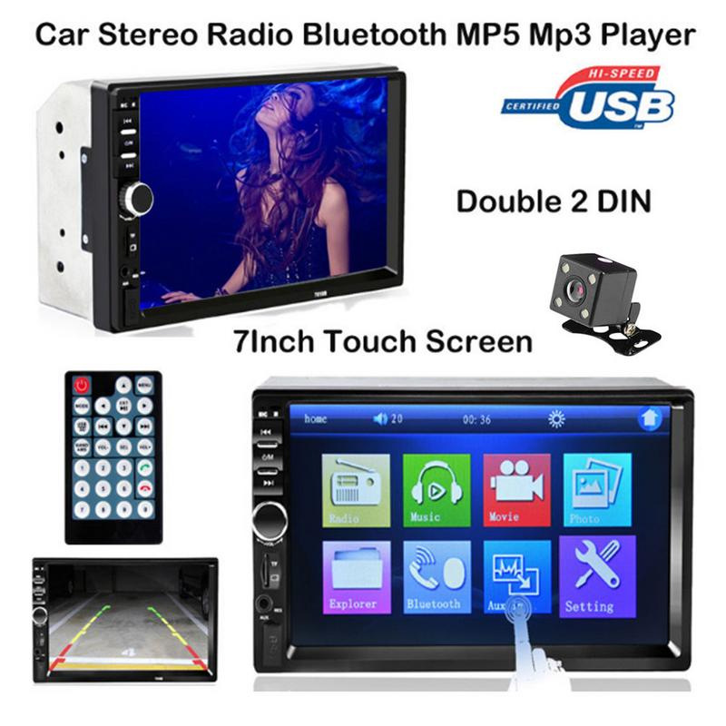 7 Double 2 DIN Head Unit Car Stereo MP5 Player Touch Screen BT Radio FM/USB/AUX With Camera Car Bluetooth Player Stereo Radio