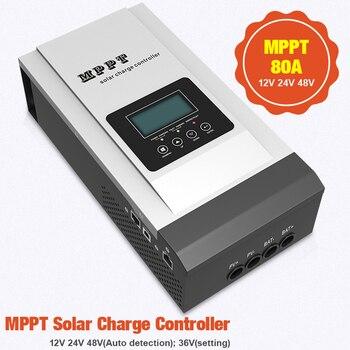 Controlador de carga solar MPPT, regulador solar LCD retroiluminado, de 80A con ajuste de voltaje de 12V a 48V,máximo 150VCD 1