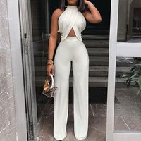 Plain Sexy Full Length High Waist Slim Jumpsuits Women Summer Halter White OL Ladies Jumpsuits Female