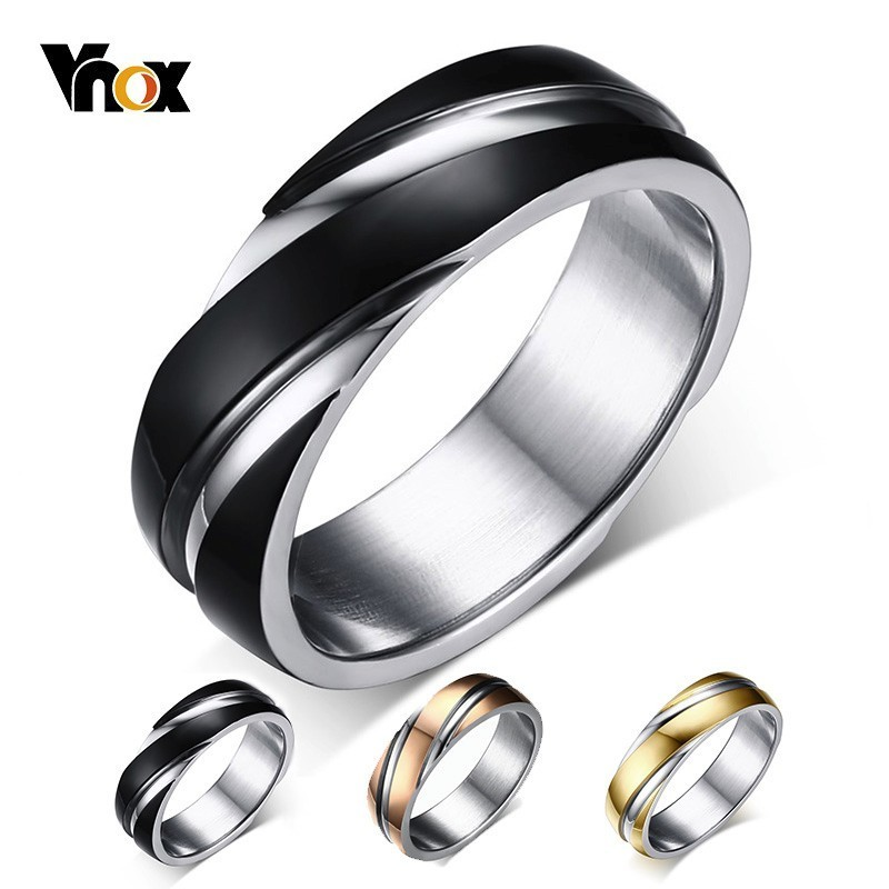 Vnox Wedding-Ring Stainless-Steel Rose-Gold-Color Black Women for Free-Velvet-Bag Gift