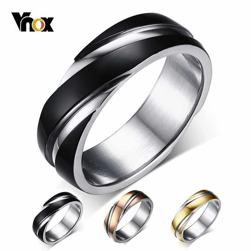 Vnox Wedding Ring for Women Men Stainless Steel Black Rose Gold Color Free velvet bag Gift