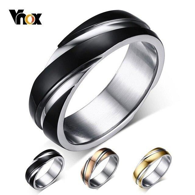Vnox Anel de Casamento para As Mulheres Homens de Aço Inoxidável Preto Cor de Rosa de Ouro Livre saco de veludo de Presente