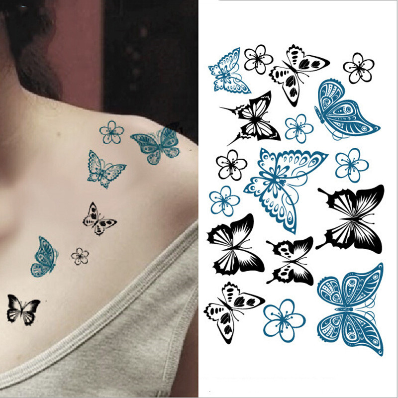 2018 NEW Temporary Tattoo Sticker Waterproof Decals Fake Tatoo Art Taty Women's Butterfly Flower Pattern Tattoo Sticker
