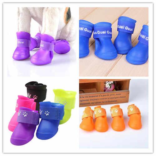 2018 mais novo quente moda bonito animal de estimação à prova de água sapatos de chuva botas meias anti-deslizamento bota de borracha para pequeno cão grande sapatos