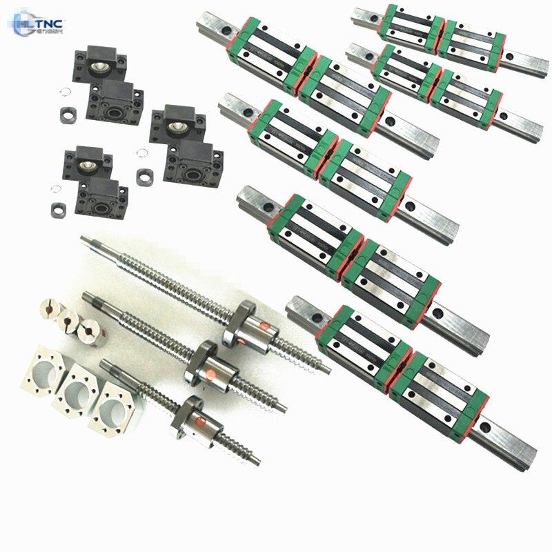 HLTNC 6PC guide linéaire carré large 20mm HGR20-350/900/1200mm & 3pc vis à billes 1605/1610/2010 & 3set BK/BF12/15 & couplage