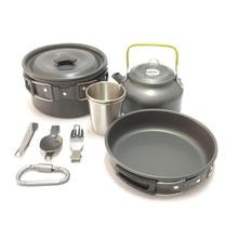 9pcs Outdoor Camping Hiking Picnic Teapot Pot Set Carabiner Cookware Outdoor Tableware