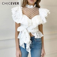 CHICEVER 2019 Spring Polka Dot White Blouses Tops Female Shirts Stand Collar Butterfly Sleeve Lace Bandage Chiffon Blouse Women