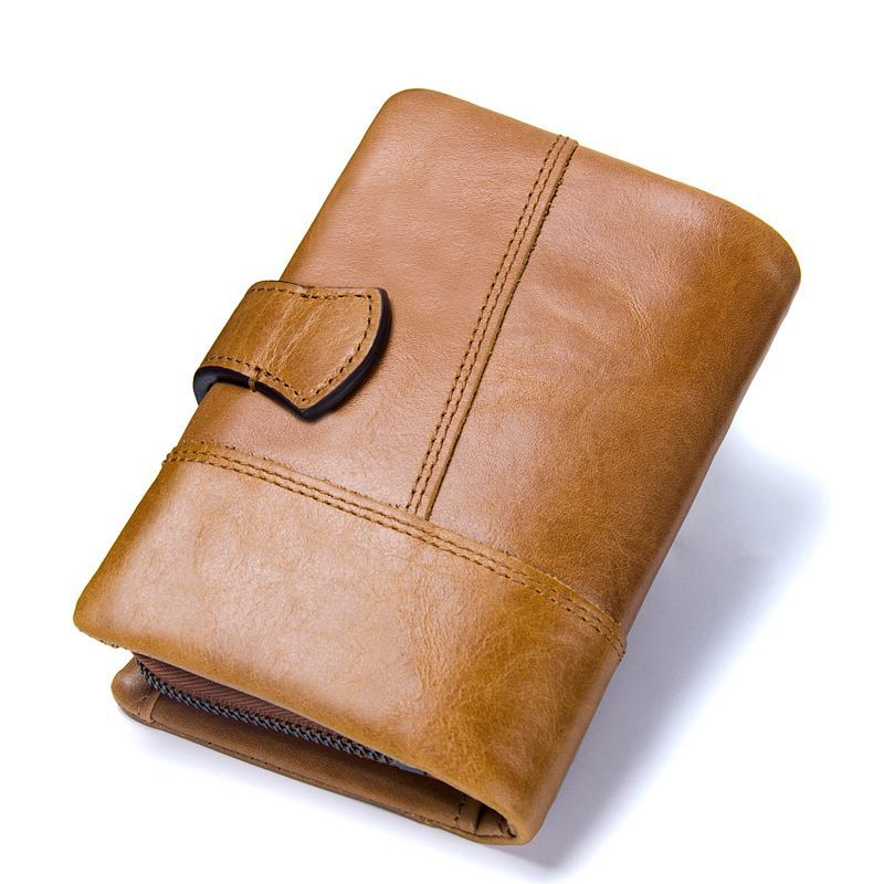 2019 New Men Wallet Top Genuine Leather Short Men's Wallet With Coin Bag Zipper Small Hand Take Package Cluth Card Holder Purse