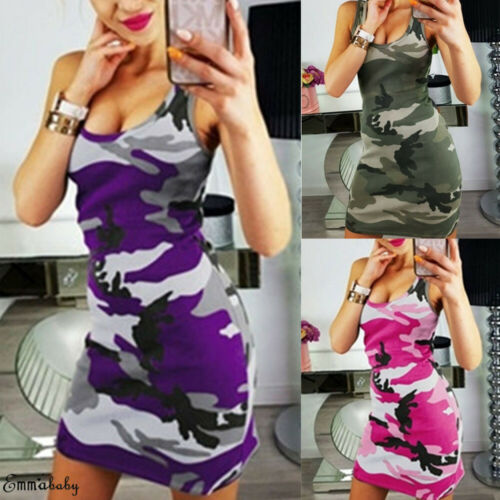 New Women Ladies Skinny Slim Summer Casual Sleeveless O neck <font><b>Sexy</b></font> <font><b>Frauen</b></font> Camflouge Mini <font><b>Dress</b></font> image