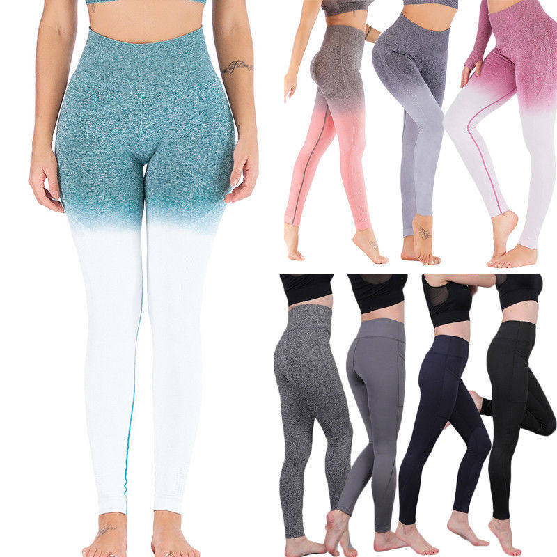 2019 Spring New Women High Waist Sports Pants Sexy Scrunch Elastic Push Up   Leggings