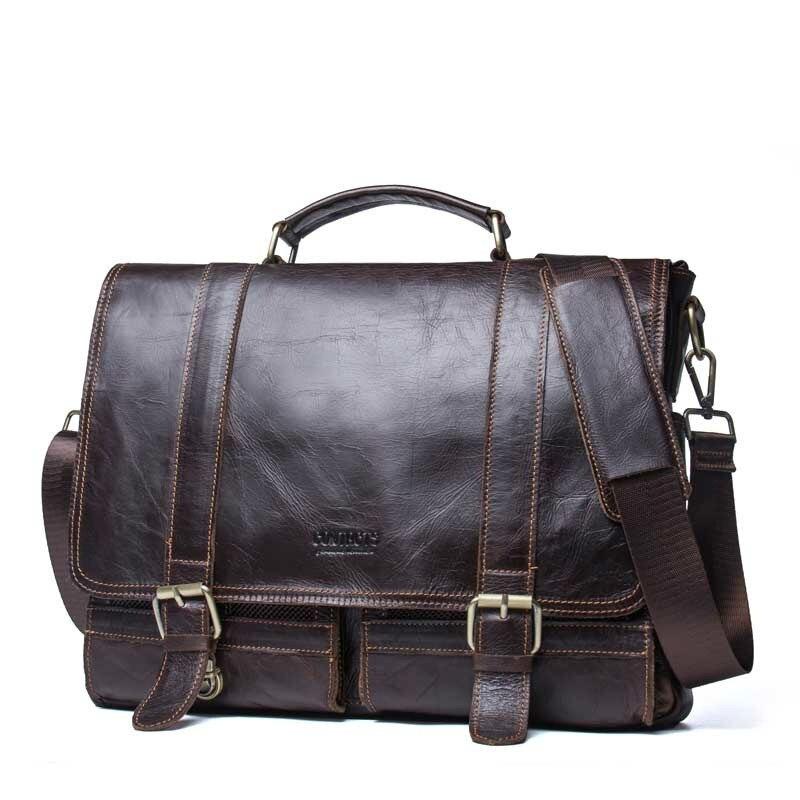 2019 affaires hommes en cuir véritable sac 14 ''ordinateur portable fourre-tout porte-documents pour hommes bandoulière sac à main homme Messenger sac mallca
