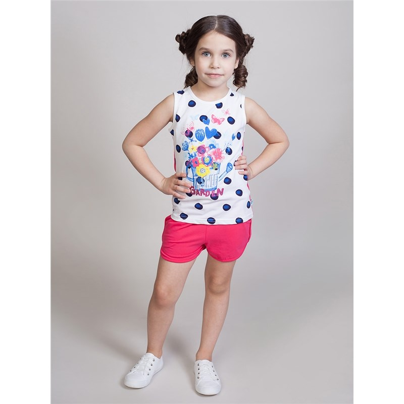[Available with 10.11] Shorts knitted girls lace hem floral print cami top with shorts