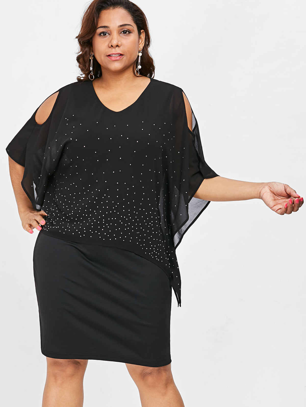 6cbe7836b45ee Detail Feedback Questions about Wipalo Plus Size Cold Shoulder Cape ...