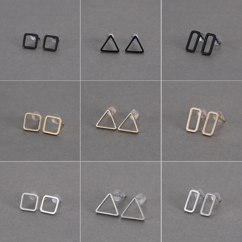 Europäischen Und Amerikanischen Minimalistischen Von Ausschnitt Geometrische Dreieck Box Neutral Vielseitige Multi-farbe Stud/post Ohrringe Großhandel R20 Ohrringe Ohrstecker