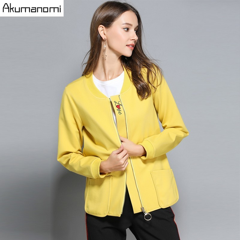Autumn Spring Jacket Yellow V neck full sleeve Love Embroidery Zipper pocket Women Clothes Spring Tops