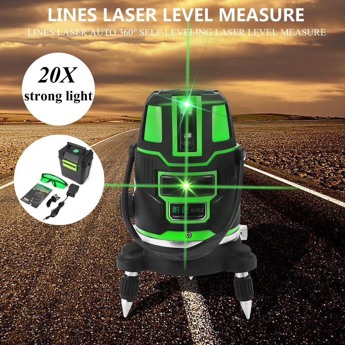 Зеленый лазерный уровень 2/3/5 поперечные линии Indoor/открытый наливные 360 Поворотный программное средство меры набор США Plug Radius переменный и п...