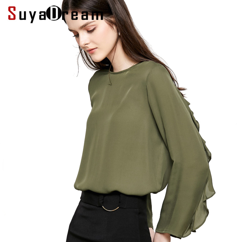 Women Silk Blouse 100 REAL SILK CREPE Solid Blouses for Women O Neck Long Sleeved Shirt