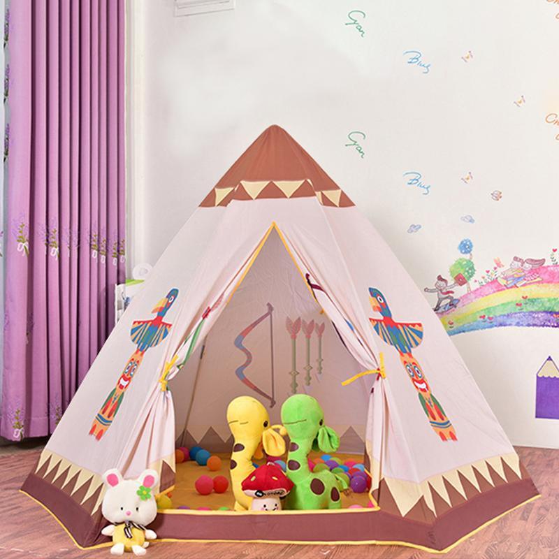 Tente enfant jeu d'intérieur maison Style indien tente hexagonale bébé enfants océan piscine à balles anniversaire cadeau de noël