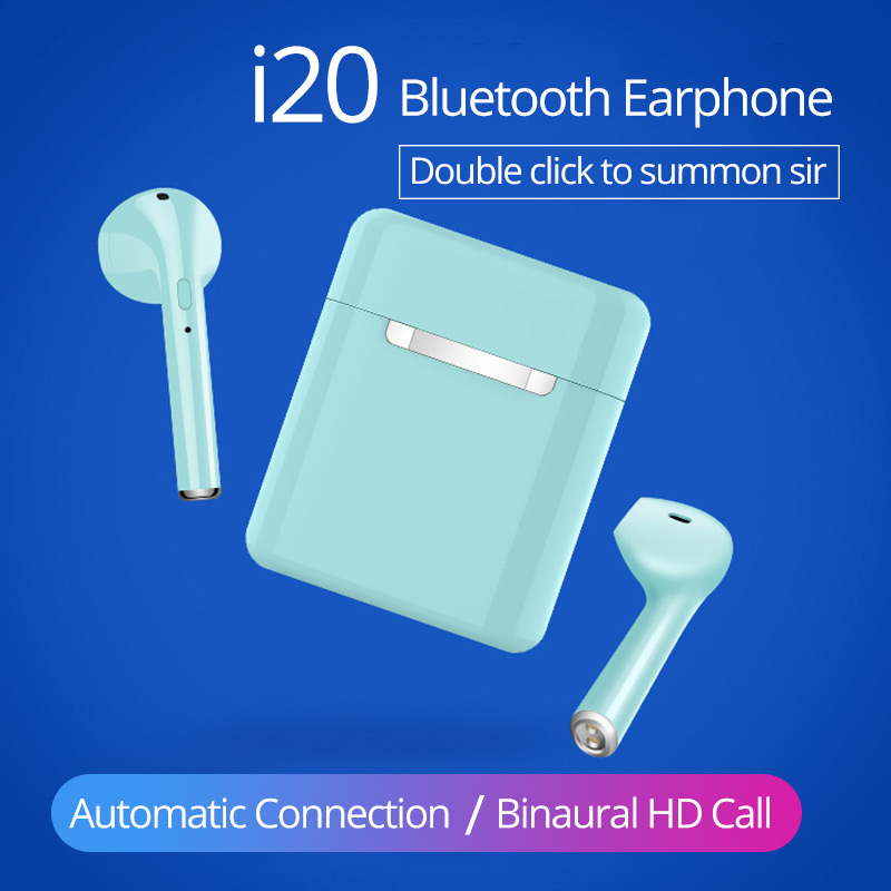 i20 <font><b>TWS</b></font> Bluetooth 5.0 Earphones Mini Wireless headsets 3D Stereo hifi Bass earbuds <font><b>2019</b></font> New PK i9s i10 i12 <font><b>i18</b></font> for all phones image