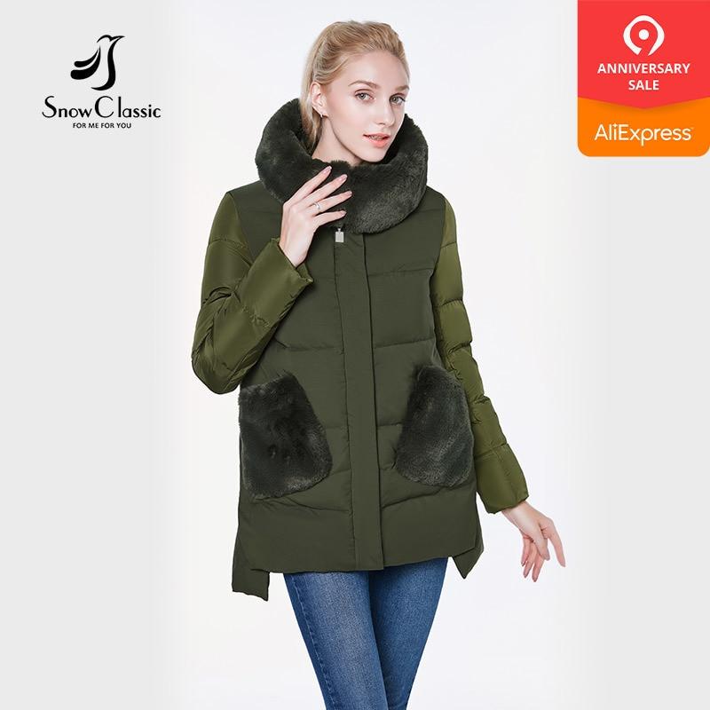 Snow Classic 2018 jacket women camperas mujer abrigo invierno coat women park Hair hat pocket Stick pocket Thick warm European
