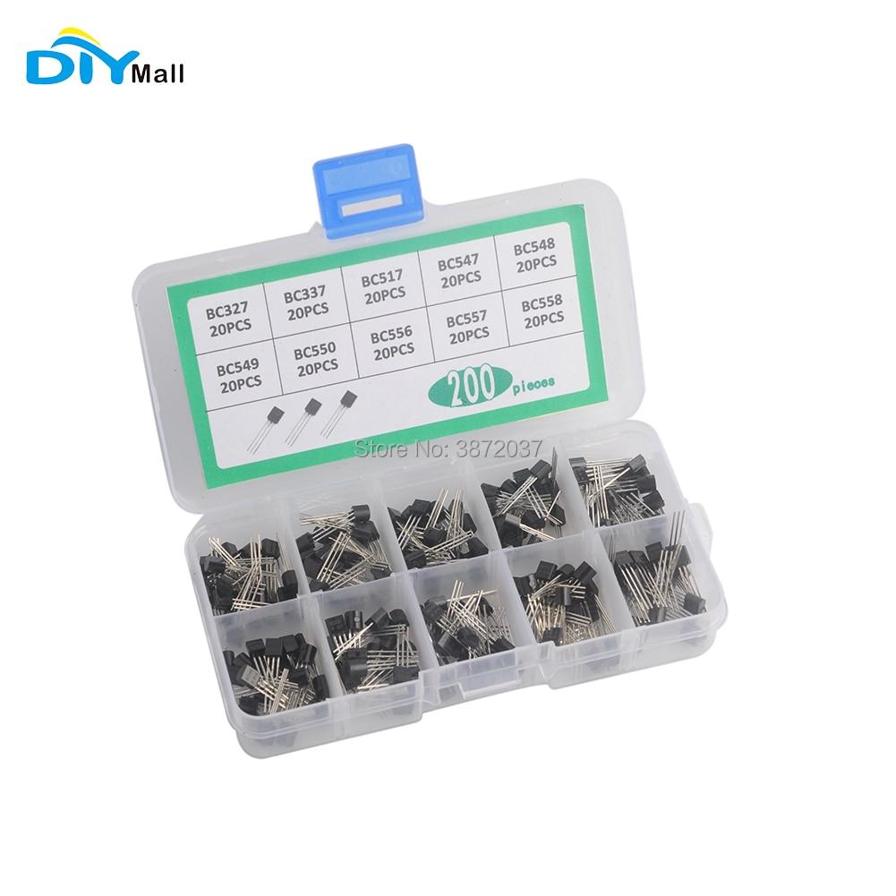 200pcs DIYmall Transistor Kit 10 Values BC327 BC337 BC517 BC547 BC548 BC549   BC550 BC556 BC557 BC558